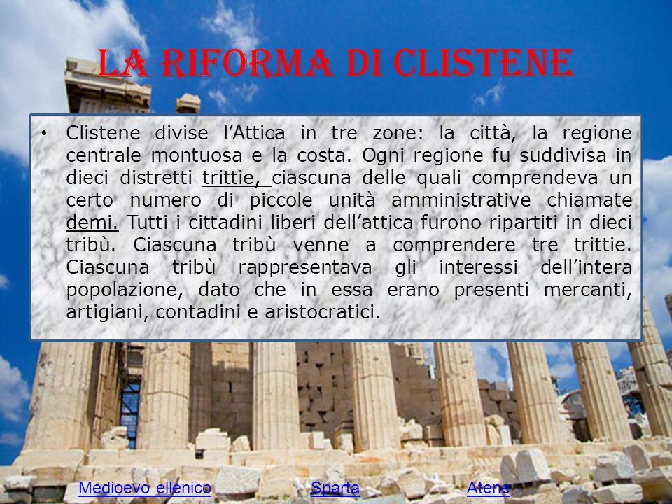 La riforma di Clistene Clistene divise lAttica in tre zone: la città, la regione centrale montuosa e la costa. Ogni regione fu suddivisa in dieci dist