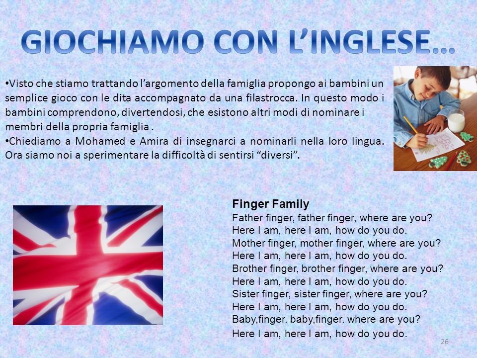 26 Finger Family Father finger, father finger, where are you? Here I am, here I am, how do you do. Mother finger, mother finger, where are you? Here I
