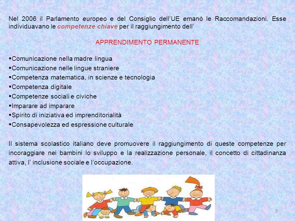 3 Nel 2006 il Parlamento europeo e del Consiglio dellUE emanò le Raccomandazioni. Esse individuavano le competenze chiave per il raggiungimento dell A