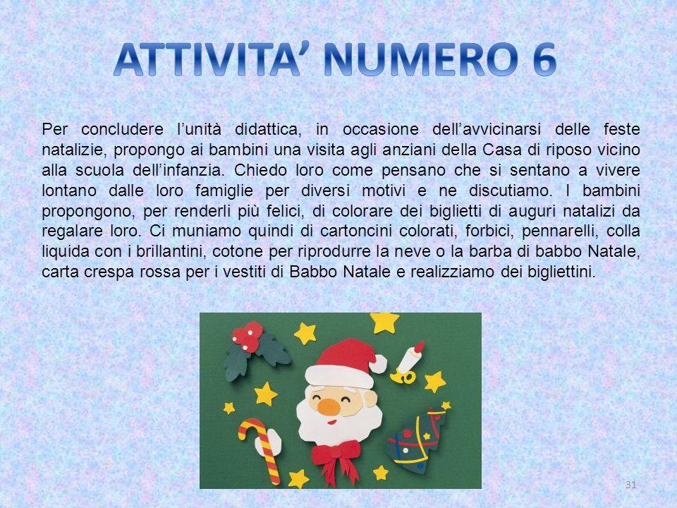 31 Per concludere lunità didattica, in occasione dellavvicinarsi delle feste natalizie, propongo ai bambini una visita agli anziani della Casa di ripo