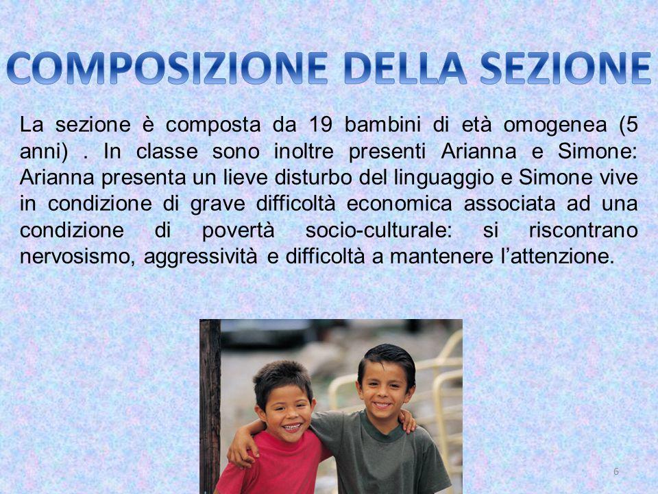 6 La sezione è composta da 19 bambini di età omogenea (5 anni). In classe sono inoltre presenti Arianna e Simone: Arianna presenta un lieve disturbo d