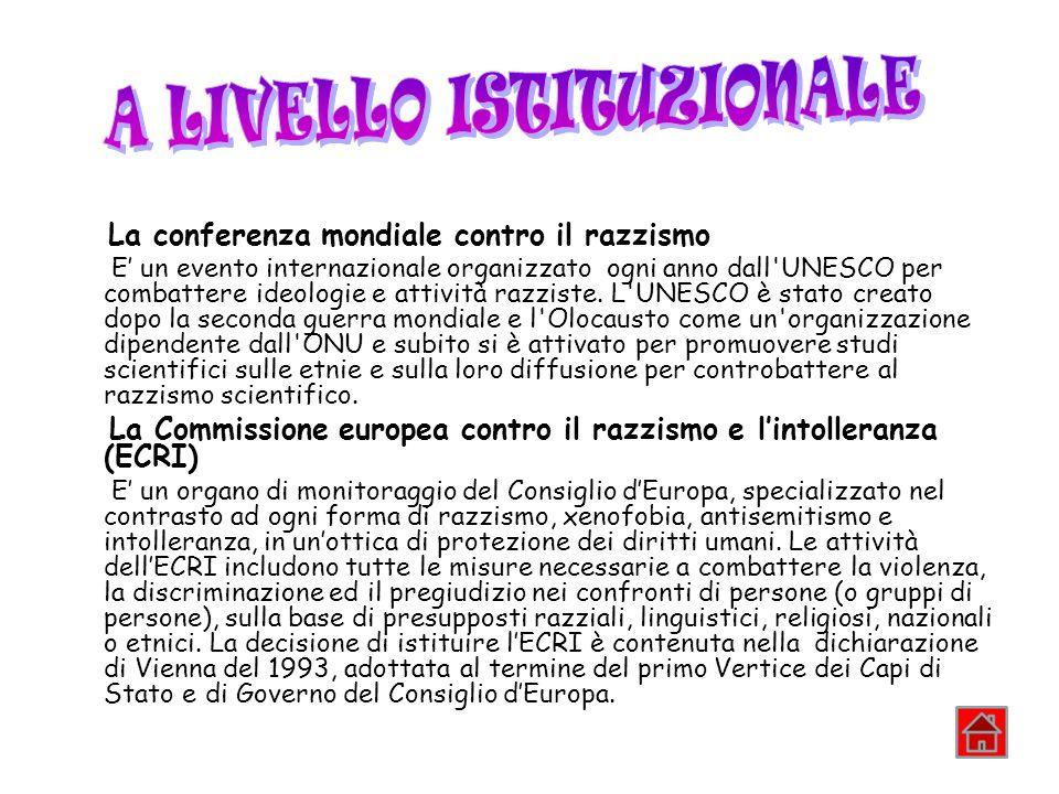 La conferenza mondiale contro il razzismo E un evento internazionale organizzato ogni anno dall'UNESCO per combattere ideologie e attività razziste. L