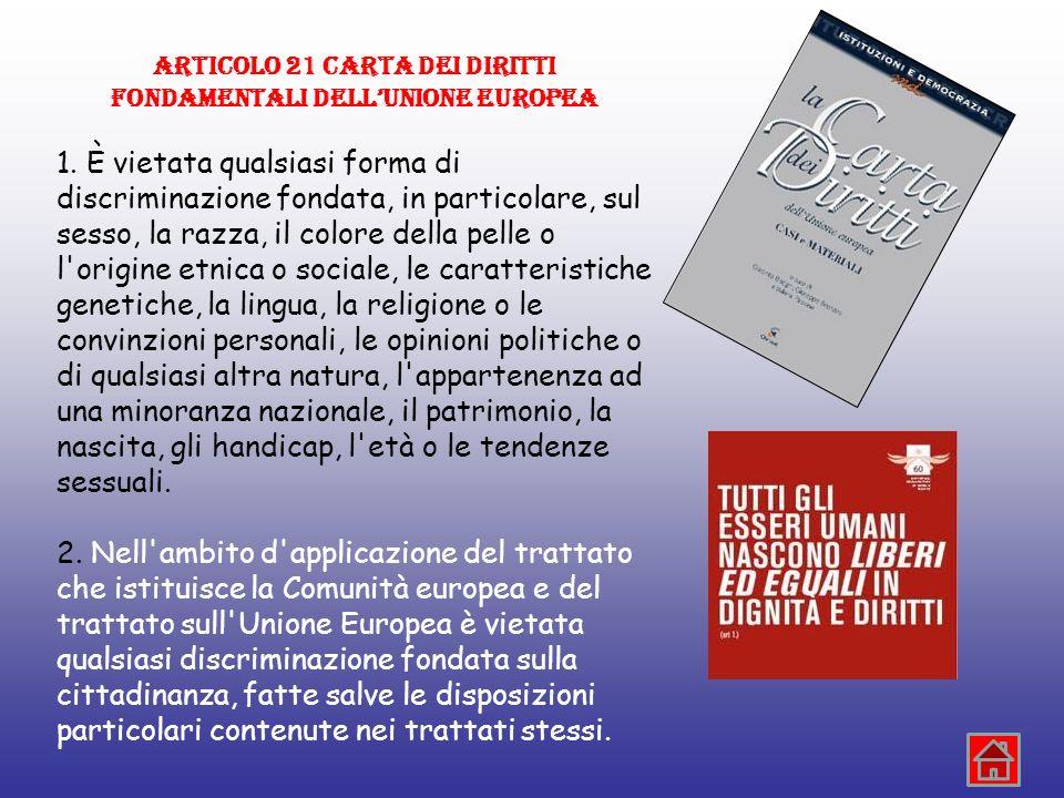 ARTICOLO 21 CARTA DEI DIRITTI FONDAMENTALI DELLUNIONE EUROPEA 1. È vietata qualsiasi forma di discriminazione fondata, in particolare, sul sesso, la r