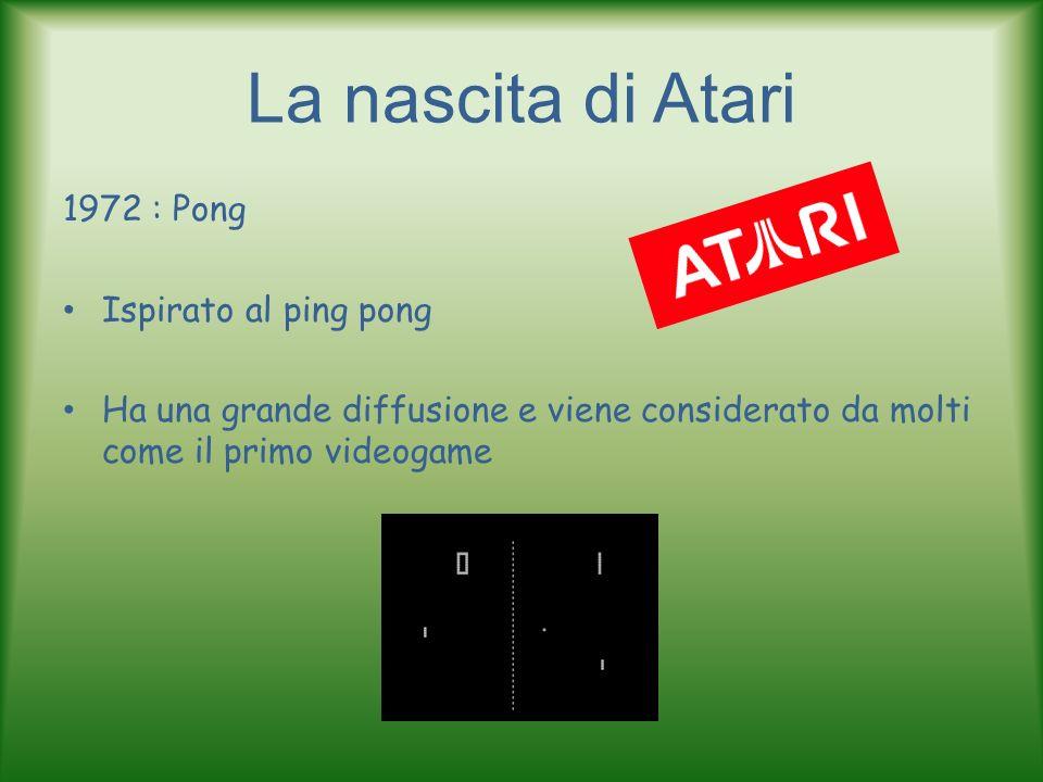 La nascita di Atari 1972 : Pong Ispirato al ping pong Ha una grande diffusione e viene considerato da molti come il primo videogame