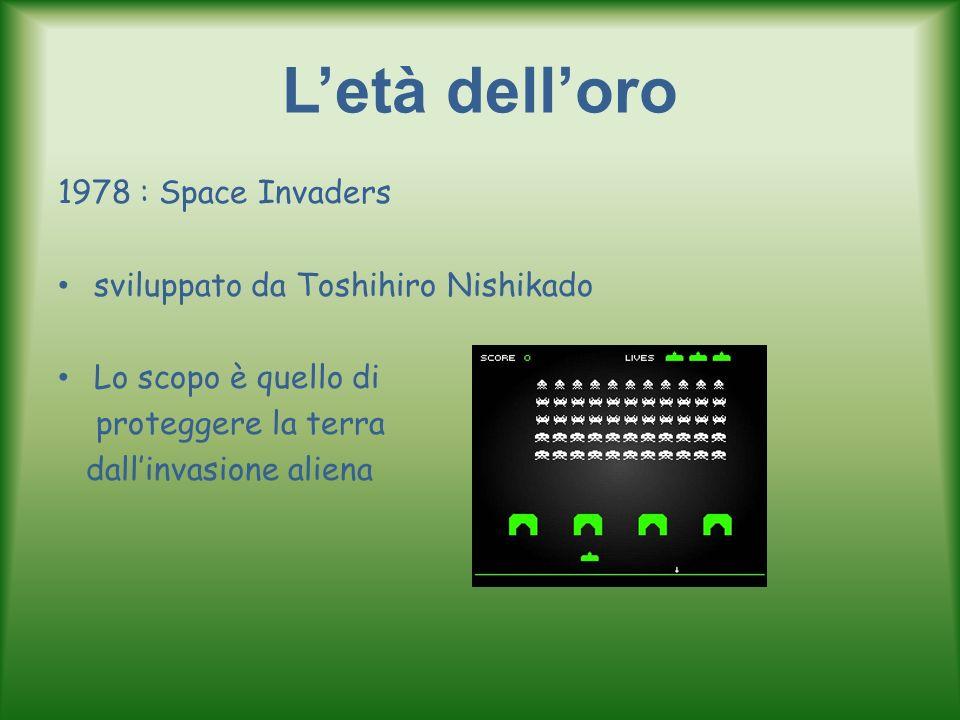 Letà delloro 1978 : Space Invaders sviluppato da Toshihiro Nishikado Lo scopo è quello di proteggere la terra dallinvasione aliena