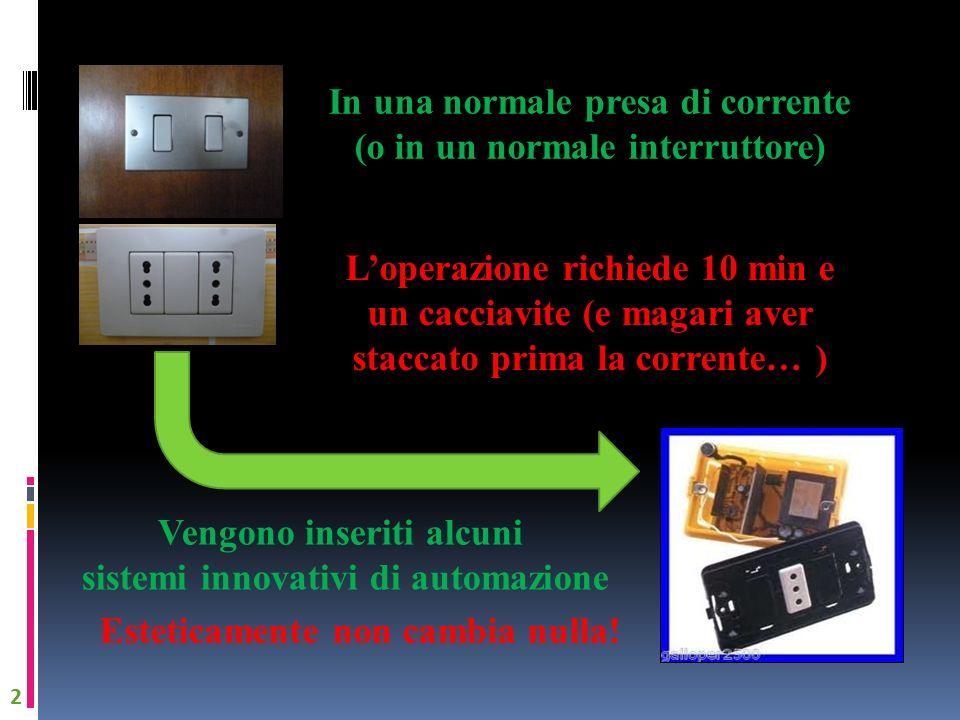 In una normale presa di corrente (o in un normale interruttore) Vengono inseriti alcuni sistemi innovativi di automazione 2 Loperazione richiede 10 mi