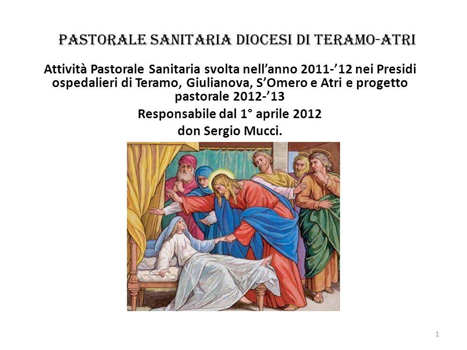 Pastorale Sanitaria diocesi di Teramo-Atri Attività Pastorale Sanitaria svolta nellanno 2011-12 nei Presidi ospedalieri di Teramo, Giulianova, SOmero