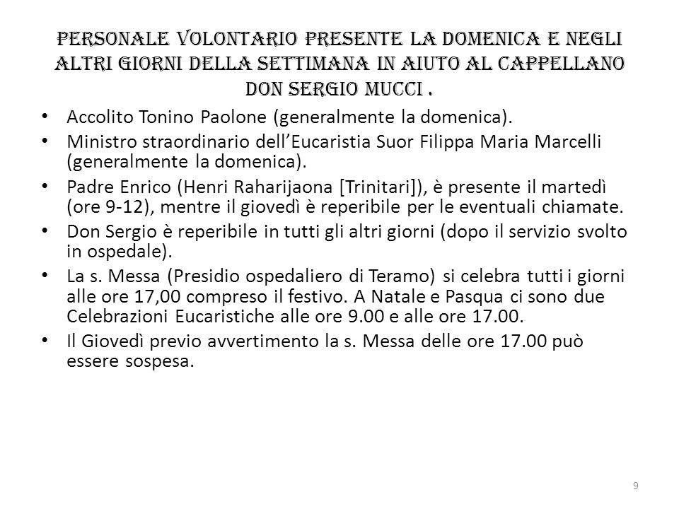 Personale volontario presente la domenica e negli altri giorni della settimana in aiuto al Cappellano don Sergio Mucci. Accolito Tonino Paolone (gener