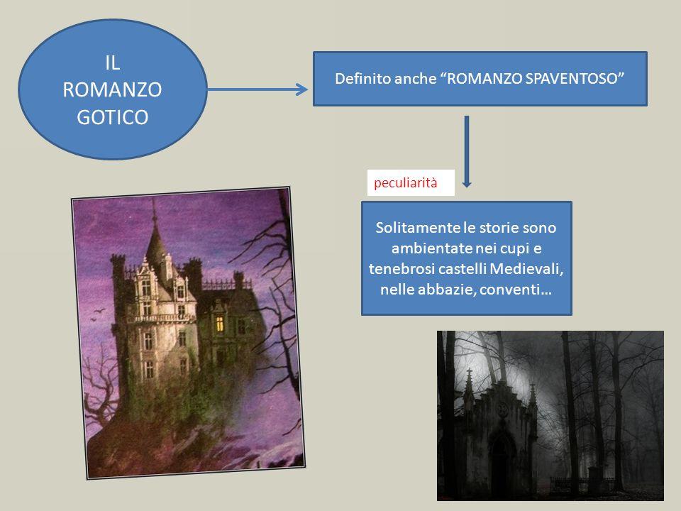 IL ROMANZO GOTICO Solitamente le storie sono ambientate nei cupi e tenebrosi castelli Medievali, nelle abbazie, conventi… Definito anche ROMANZO SPAVE