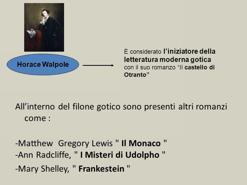 Allinterno del filone gotico sono presenti altri romanzi come : -Matthew Gregory Lewis