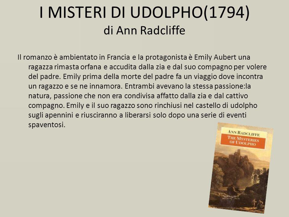 I MISTERI DI UDOLPHO(1794) di Ann Radcliffe Il romanzo è ambientato in Francia e la protagonista è Emily Aubert una ragazza rimasta orfana e accudita