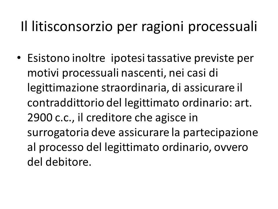 Il litisconsorzio per ragioni processuali Esistono inoltre ipotesi tassative previste per motivi processuali nascenti, nei casi di legittimazione stra