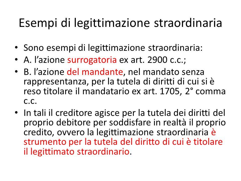 Esempi di legittimazione straordinaria Sono esempi di legittimazione straordinaria: A. lazione surrogatoria ex art. 2900 c.c.; B. lazione del mandante