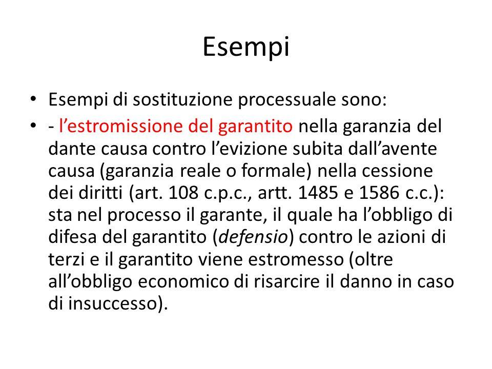 Esempi Esempi di sostituzione processuale sono: - lestromissione del garantito nella garanzia del dante causa contro levizione subita dallavente causa