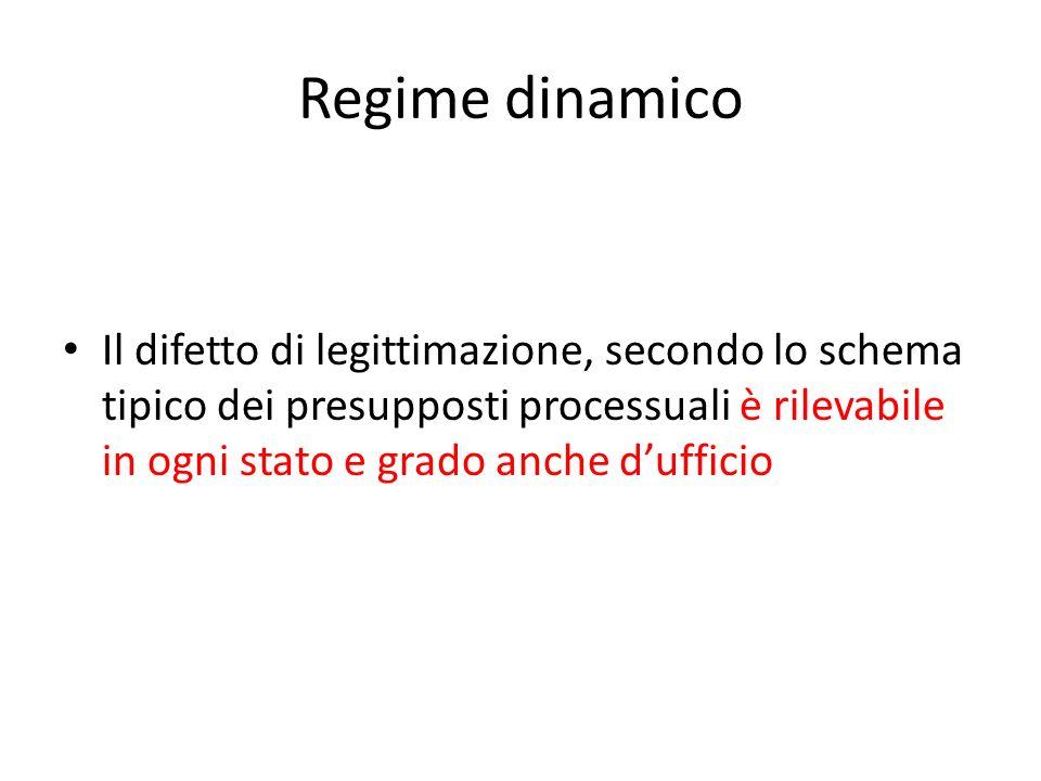 Regime dinamico Il difetto di legittimazione, secondo lo schema tipico dei presupposti processuali è rilevabile in ogni stato e grado anche dufficio