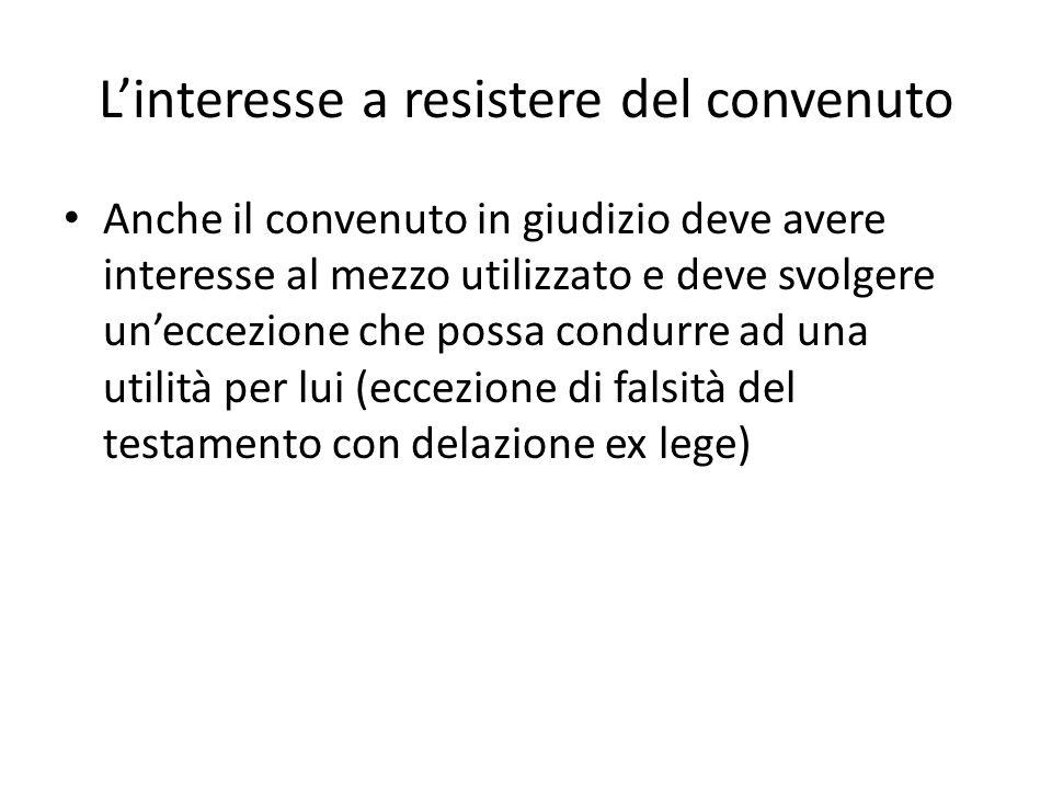 Linteresse a resistere del convenuto Anche il convenuto in giudizio deve avere interesse al mezzo utilizzato e deve svolgere uneccezione che possa con