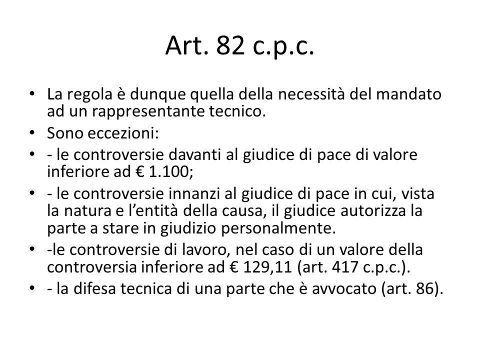 Art. 82 c.p.c. La regola è dunque quella della necessità del mandato ad un rappresentante tecnico. Sono eccezioni: - le controversie davanti al giudic