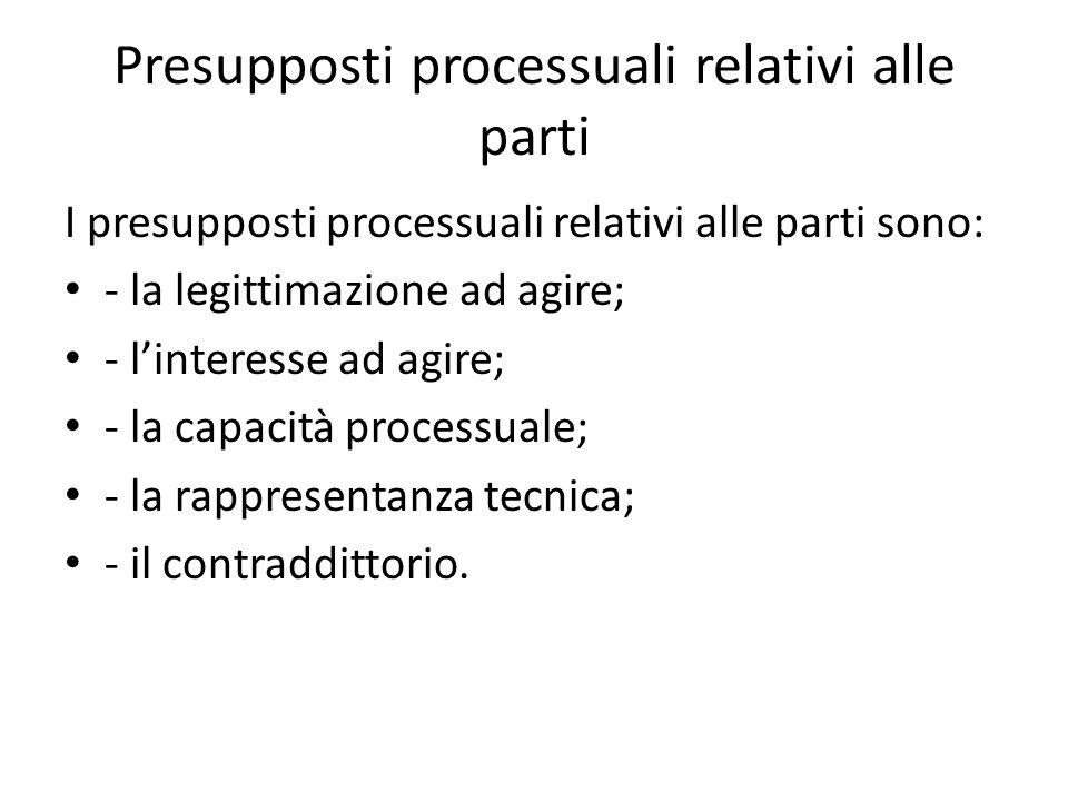 Presupposti processuali relativi alle parti I presupposti processuali relativi alle parti sono: - la legittimazione ad agire; - linteresse ad agire; -
