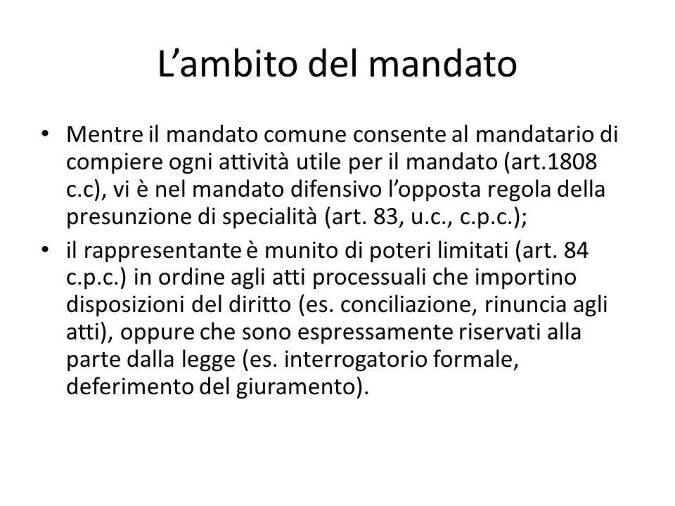 Lambito del mandato Mentre il mandato comune consente al mandatario di compiere ogni attività utile per il mandato (art.1808 c.c), vi è nel mandato di