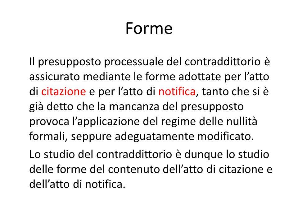 Forme Il presupposto processuale del contraddittorio è assicurato mediante le forme adottate per latto di citazione e per latto di notifica, tanto che