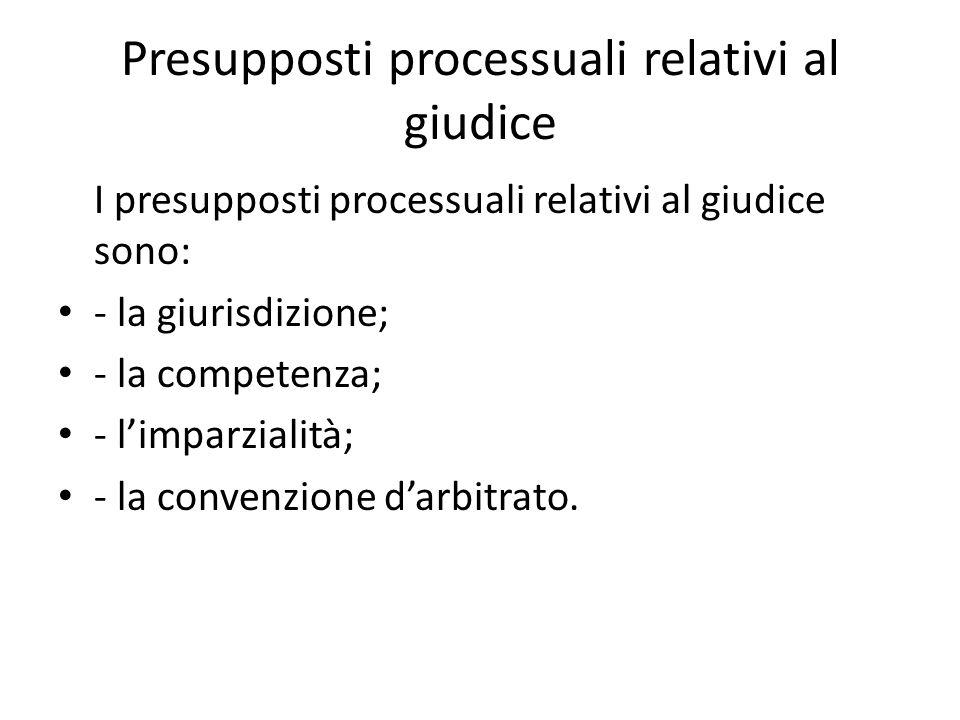 Presupposti processuali relativi al giudice I presupposti processuali relativi al giudice sono: - la giurisdizione; - la competenza; - limparzialità;