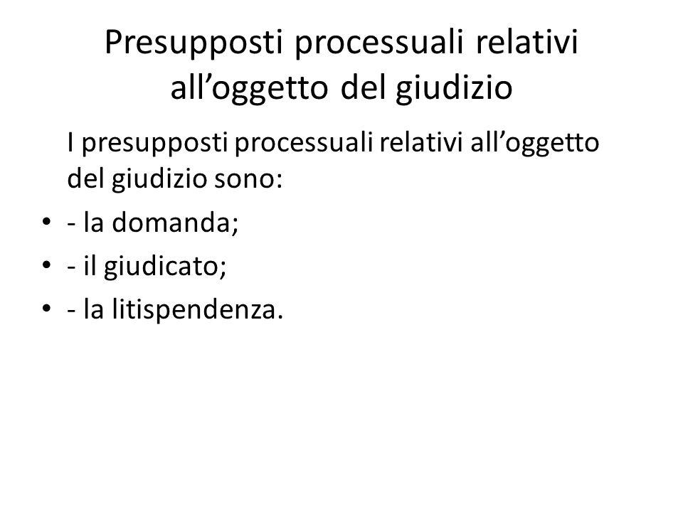 Presupposti processuali relativi alloggetto del giudizio I presupposti processuali relativi alloggetto del giudizio sono: - la domanda; - il giudicato