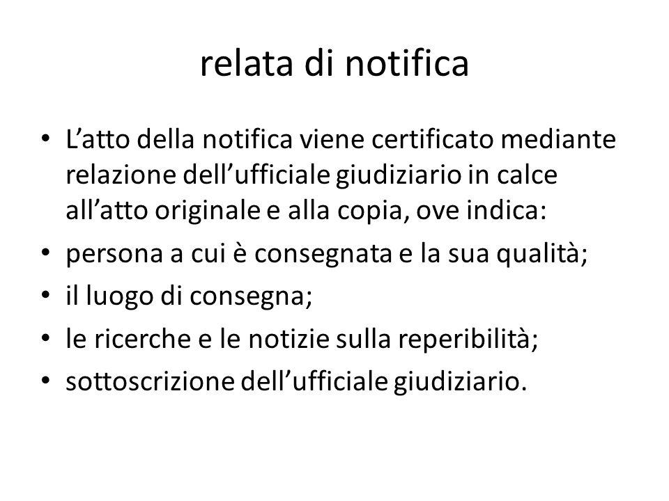relata di notifica Latto della notifica viene certificato mediante relazione dellufficiale giudiziario in calce allatto originale e alla copia, ove in