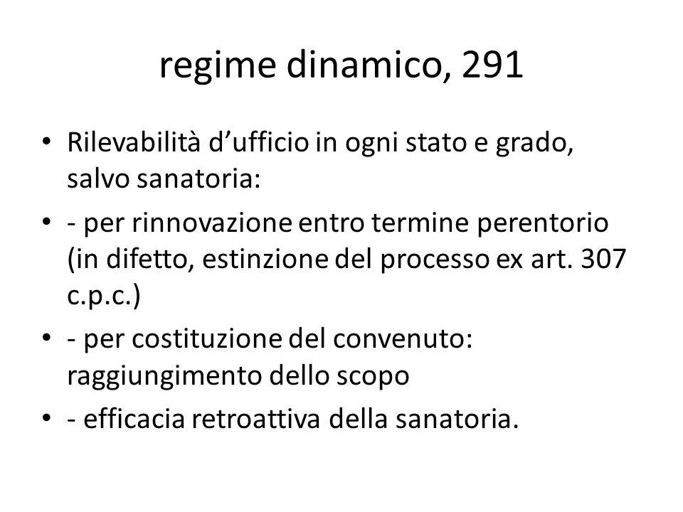regime dinamico, 291 Rilevabilità dufficio in ogni stato e grado, salvo sanatoria: - per rinnovazione entro termine perentorio (in difetto, estinzione