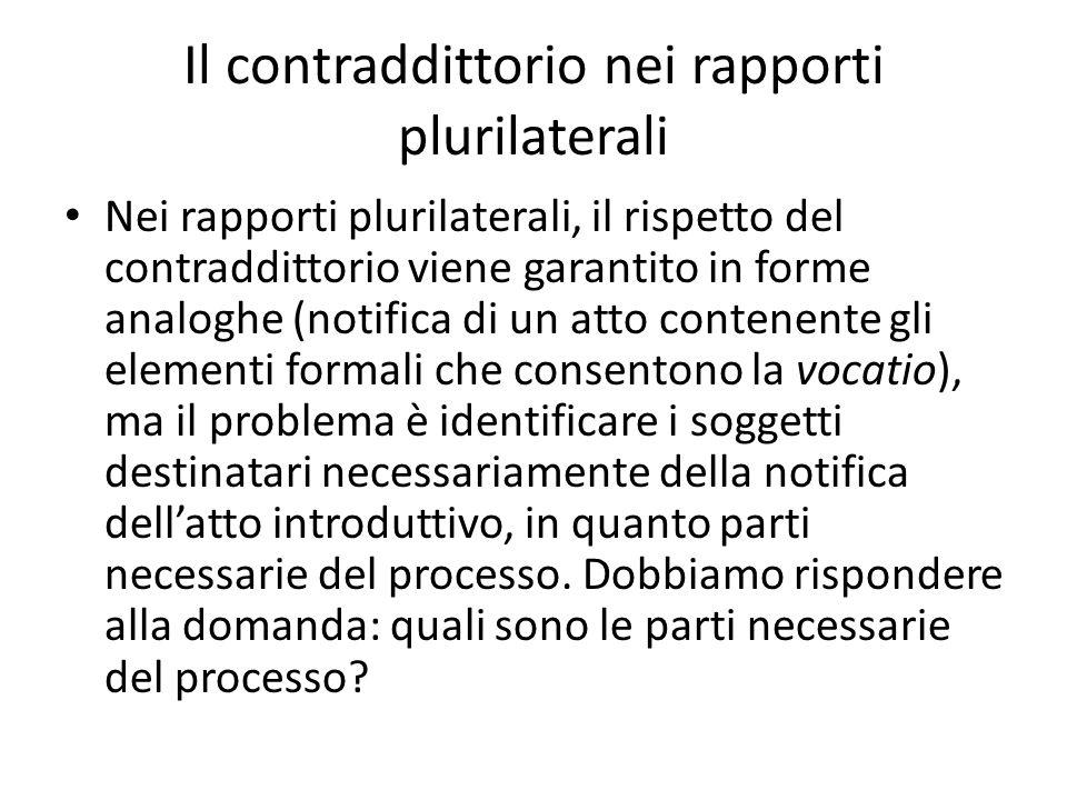 Il contraddittorio nei rapporti plurilaterali Nei rapporti plurilaterali, il rispetto del contraddittorio viene garantito in forme analoghe (notifica