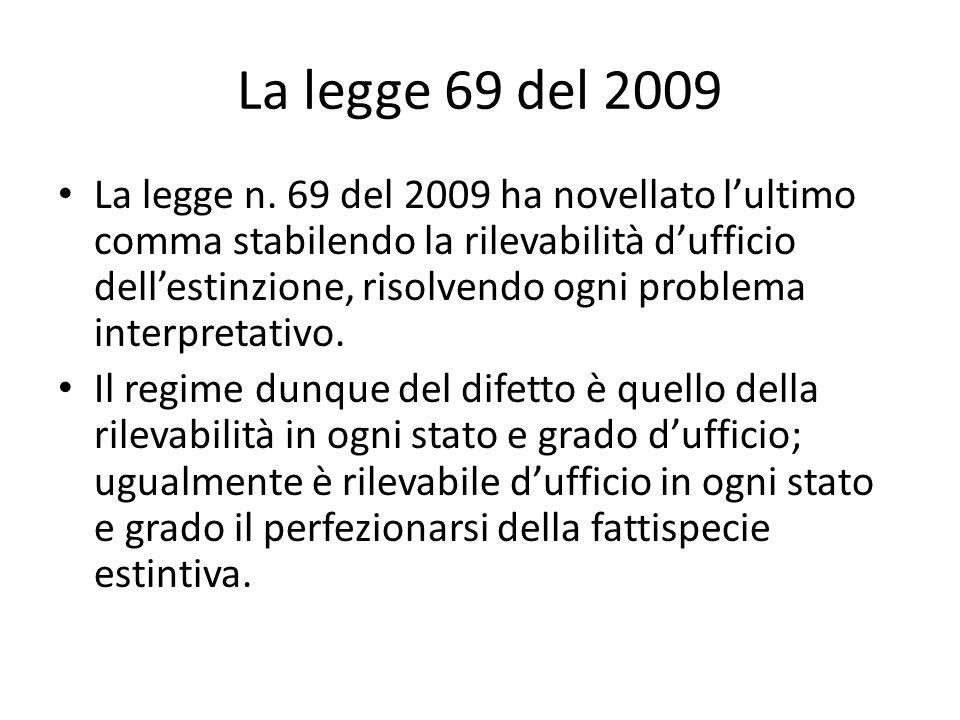 La legge 69 del 2009 La legge n. 69 del 2009 ha novellato lultimo comma stabilendo la rilevabilità dufficio dellestinzione, risolvendo ogni problema i