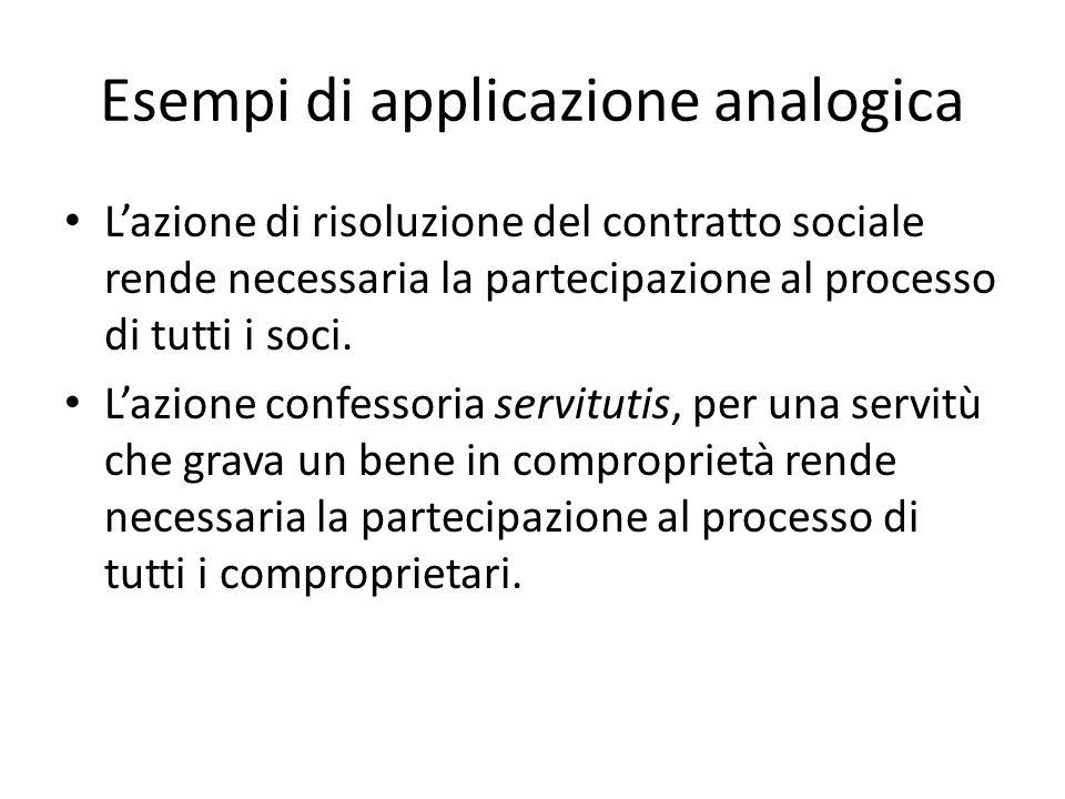 Esempi di applicazione analogica Lazione di risoluzione del contratto sociale rende necessaria la partecipazione al processo di tutti i soci. Lazione