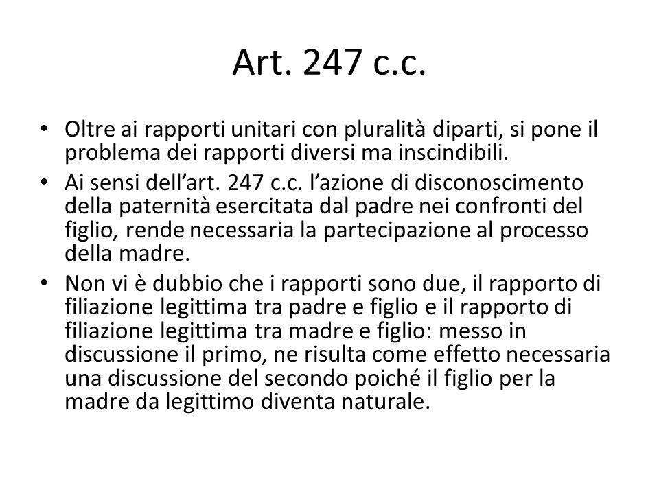 Art. 247 c.c. Oltre ai rapporti unitari con pluralità diparti, si pone il problema dei rapporti diversi ma inscindibili. Ai sensi dellart. 247 c.c. la