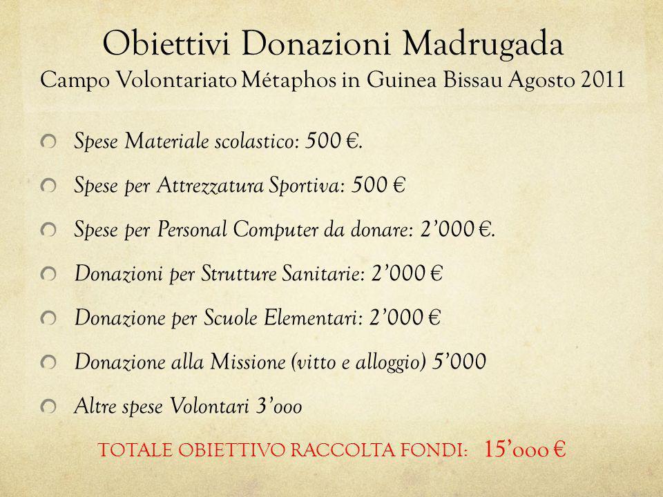 Obiettivi Donazioni Madrugada Campo Volontariato Métaphos in Guinea Bissau Agosto 2011 Spese Materiale scolastico: 500. Spese per Attrezzatura Sportiv