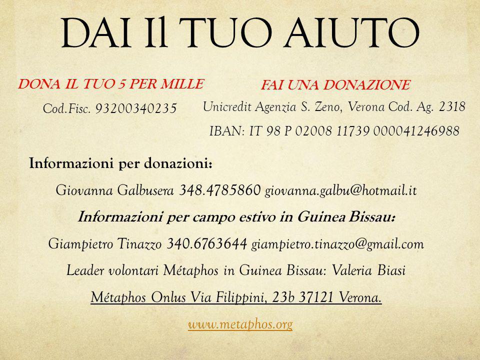 DAI Il TUO AIUTO Informazioni per donazioni: Giovanna Galbusera 348.4785860 giovanna.galbu@hotmail.it Informazioni per campo estivo in Guinea Bissau: