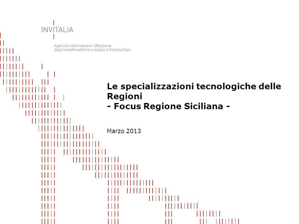 Agenzia nazionale per lattrazione degli investimenti e lo sviluppo dimpresa SpA Marzo 2013 Le specializzazioni tecnologiche delle Regioni - Focus Regione Siciliana -