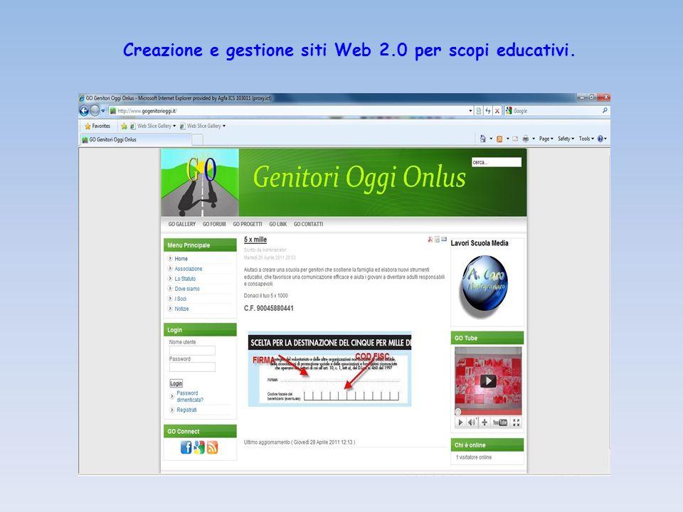 Creazione e gestione siti Web 2.0 per scopi educativi.