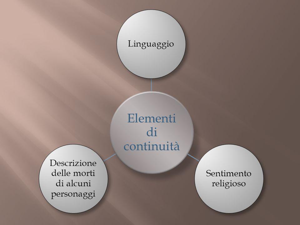 Elementi di continuità Linguaggio Sentimento religioso Descrizione delle morti di alcuni personaggi