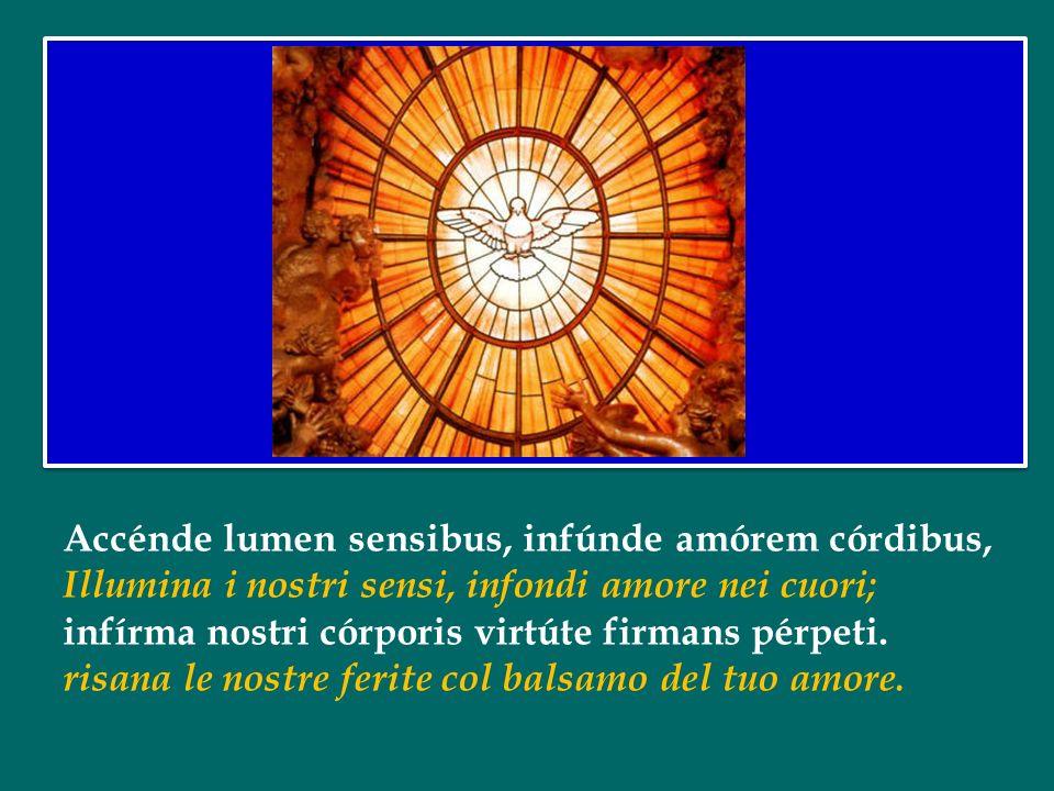 Tu septifórmis múnere, déxtræ Dei tu dígitus, Datore dei sette doni, dito della destra di Dio, tu rite promíssum Patris, sermóne ditans gúttura.