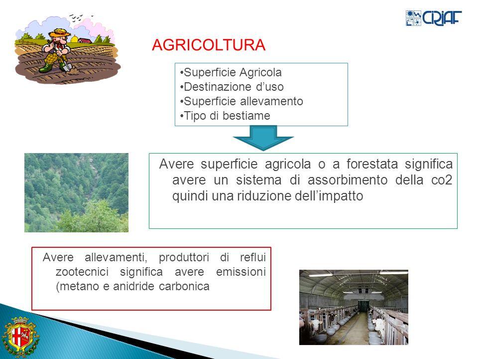 Avere superficie agricola o a forestata significa avere un sistema di assorbimento della co2 quindi una riduzione dellimpatto Avere allevamenti, produttori di reflui zootecnici significa avere emissioni (metano e anidride carbonica AGRICOLTURA Superficie Agricola Destinazione duso Superficie allevamento Tipo di bestiame