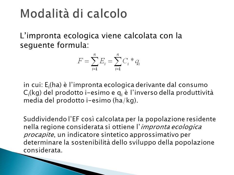 Limpronta ecologica viene calcolata con la seguente formula: in cui: E i (ha) è limpronta ecologica derivante dal consumo C i (kg) del prodotto i-esimo e q i è linverso della produttività media del prodotto i-esimo (ha/kg).