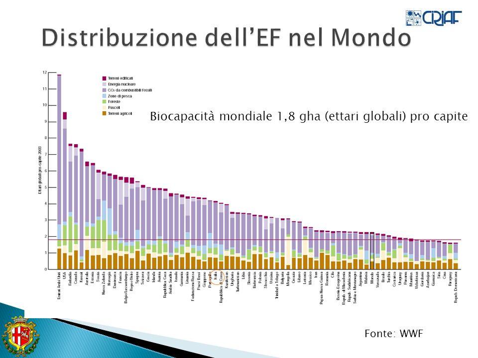 Fonte: WWF Biocapacità mondiale 1,8 gha (ettari globali) pro capite