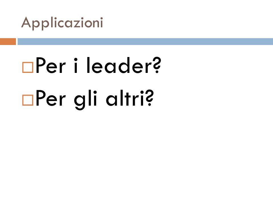 Applicazioni Per i leader Per gli altri