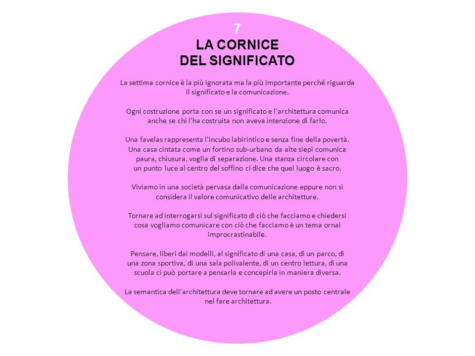7 LA CORNICE DEL SIGNIFICATO La settima cornice è la più ignorata ma la più importante perché riguarda il significato e la comunicazione. Ogni costruz