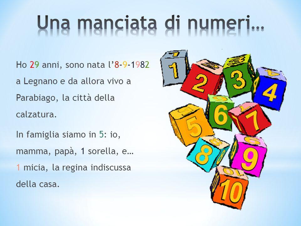 Ho 29 anni, sono nata l8-9-1982 a Legnano e da allora vivo a Parabiago, la città della calzatura. In famiglia siamo in 5: io, mamma, papà, 1 sorella,
