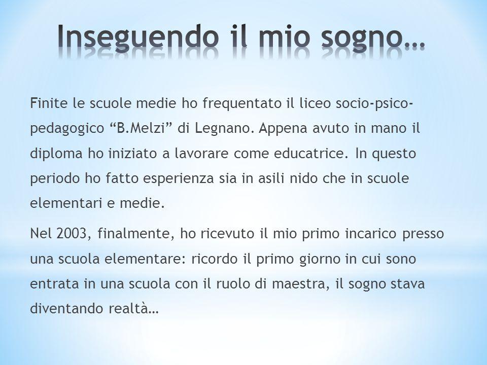 Finite le scuole medie ho frequentato il liceo socio-psico- pedagogico B.Melzi di Legnano. Appena avuto in mano il diploma ho iniziato a lavorare come