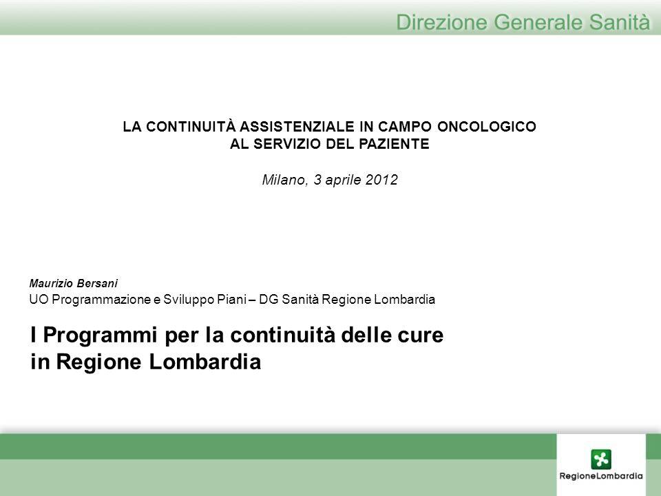 I Programmi per la continuità delle cure in Regione Lombardia Maurizio Bersani UO Programmazione e Sviluppo Piani – DG Sanità Regione Lombardia LA CON