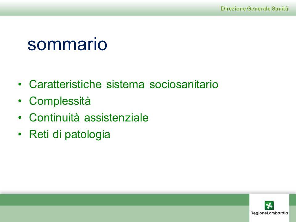 sommario Caratteristiche sistema sociosanitario Complessità Continuità assistenziale Reti di patologia