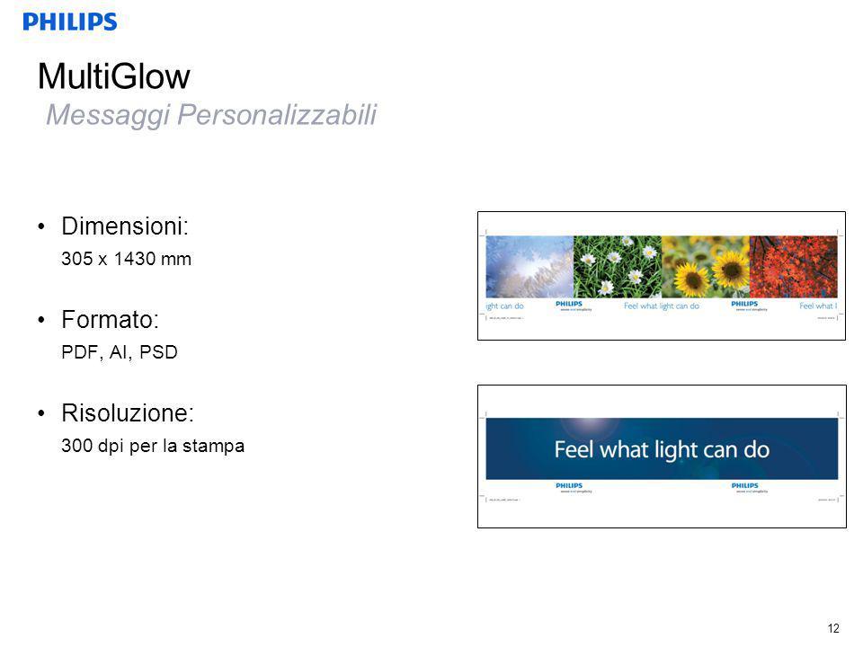 MultiGlow Messaggi Personalizzabili 12 Dimensioni: 305 x 1430 mm Formato: PDF, AI, PSD Risoluzione: 300 dpi per la stampa
