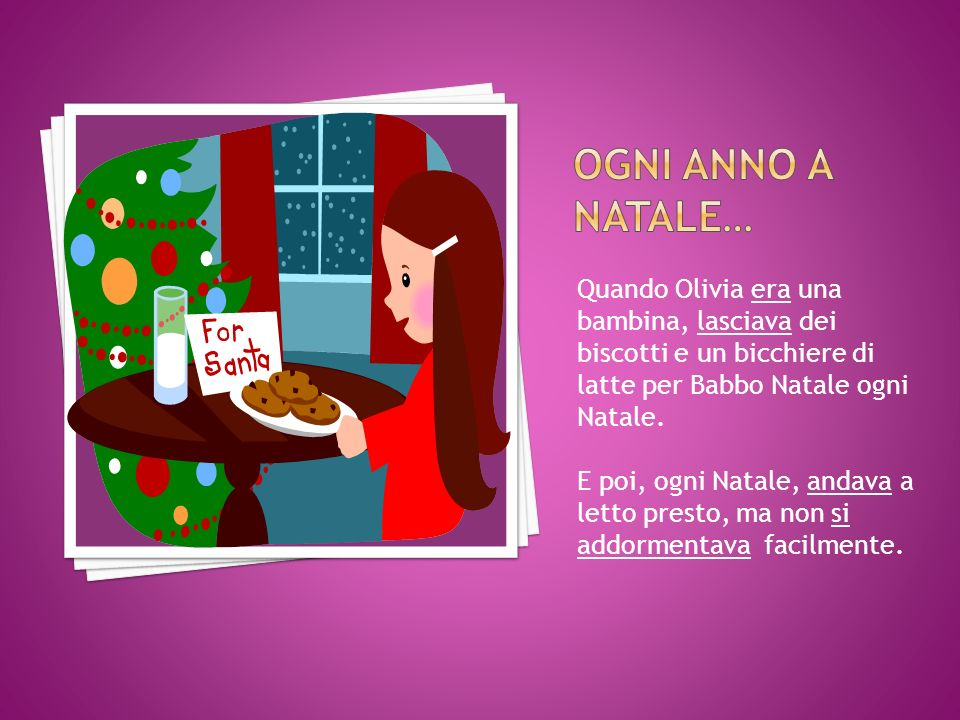 Quando Olivia era una bambina, lasciava dei biscotti e un bicchiere di latte per Babbo Natale ogni Natale.
