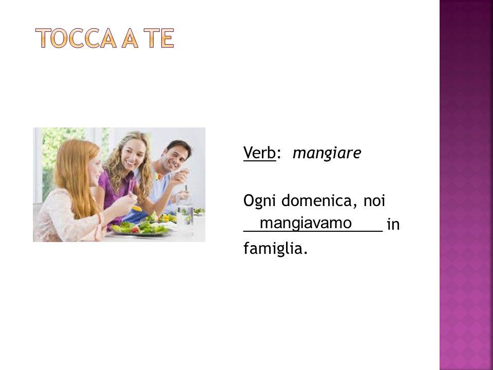 Verb: mangiare Ogni domenica, noi ________________ in famiglia. mangiavamo